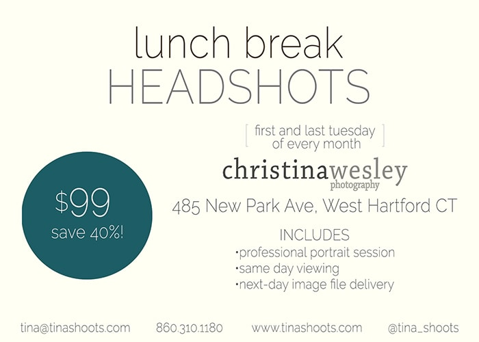 Drop-In Headshot Day at Christina Wesley Photography, West Hartford, CT. Looking for a quick, inexpensive new headshot? Come by, no appointment necessary